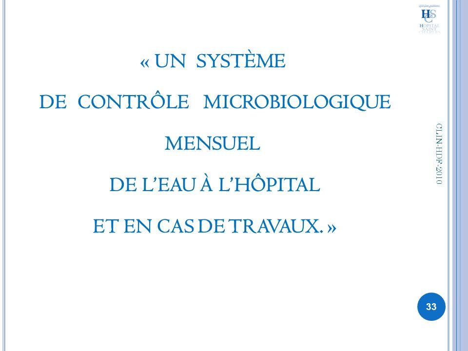 « UN SYSTÈME DE CONTRÔLE MICROBIOLOGIQUE MENSUEL DE L'EAU À L'HÔPITAL ET EN CAS DE TRAVAUX. »