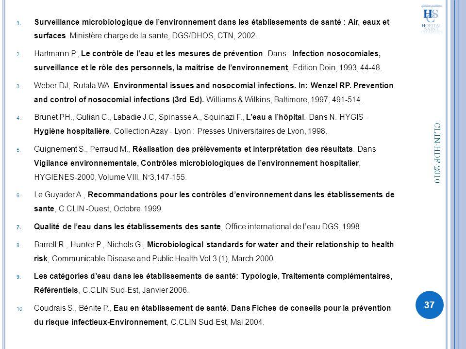 Surveillance microbiologique de l'environnement dans les établissements de santé : Air, eaux et surfaces. Ministère charge de la sante, DGS/DHOS, CTN, 2002.