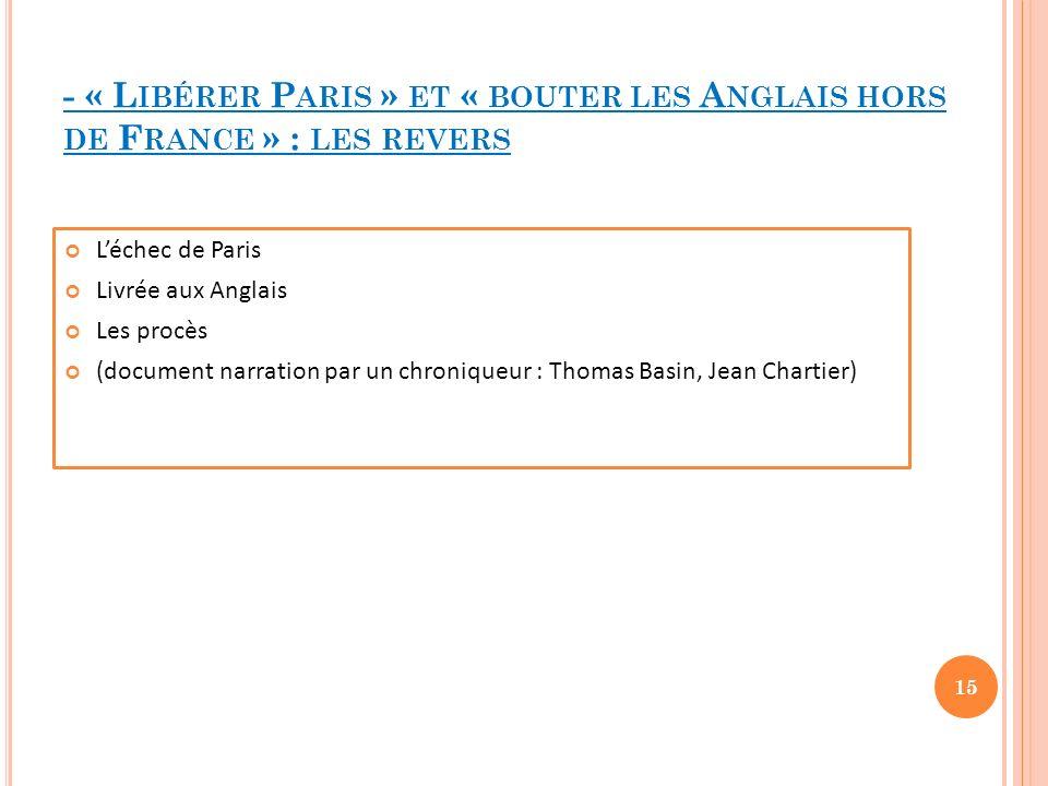 - « Libérer Paris » et « bouter les Anglais hors de France » : les revers