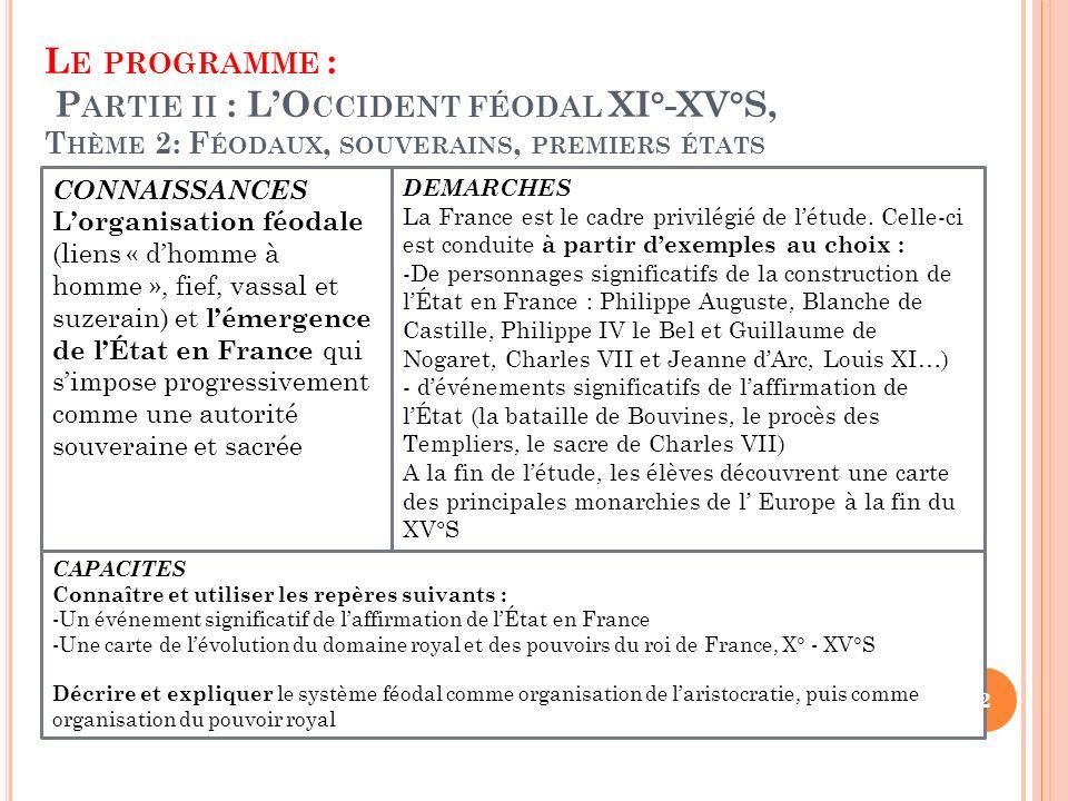 Le programme : Partie ii : L'Occident féodal XI°-XV°S, Thème 2: Féodaux, souverains, premiers états