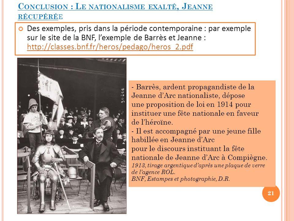 Conclusion : Le nationalisme exalté, Jeanne récupérée