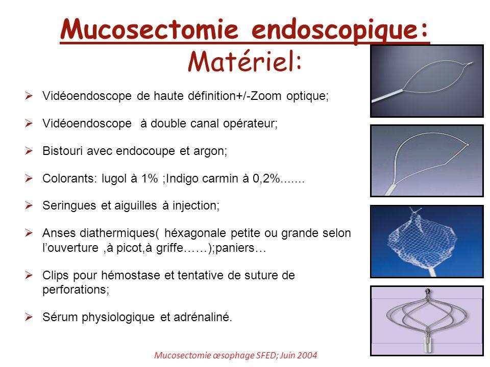 Mucosectomie endoscopique: Matériel:
