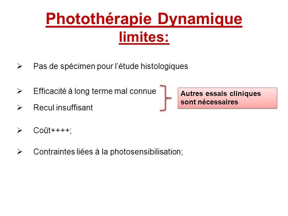 Photothérapie Dynamique limites: