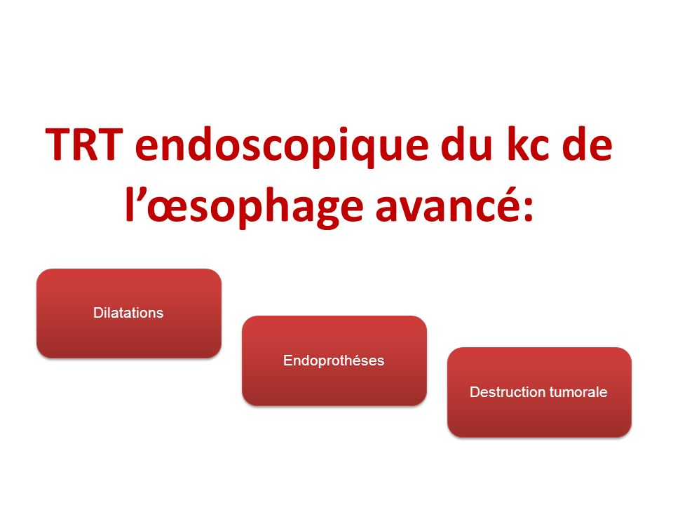 TRT endoscopique du kc de l'œsophage avancé: