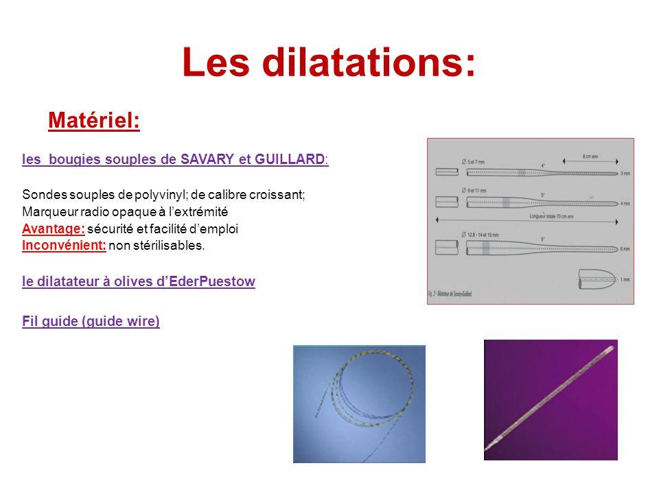 Les dilatations: Matériel: les bougies souples de SAVARY et GUILLARD: