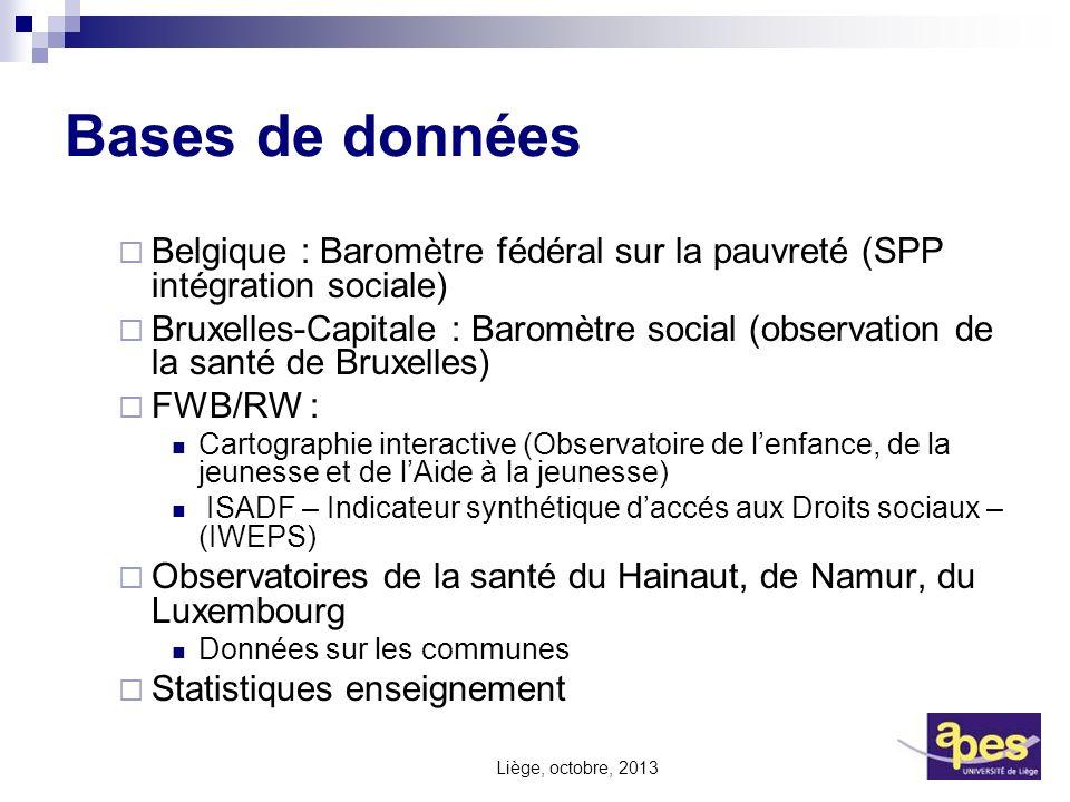 Bases de données Belgique : Baromètre fédéral sur la pauvreté (SPP intégration sociale)