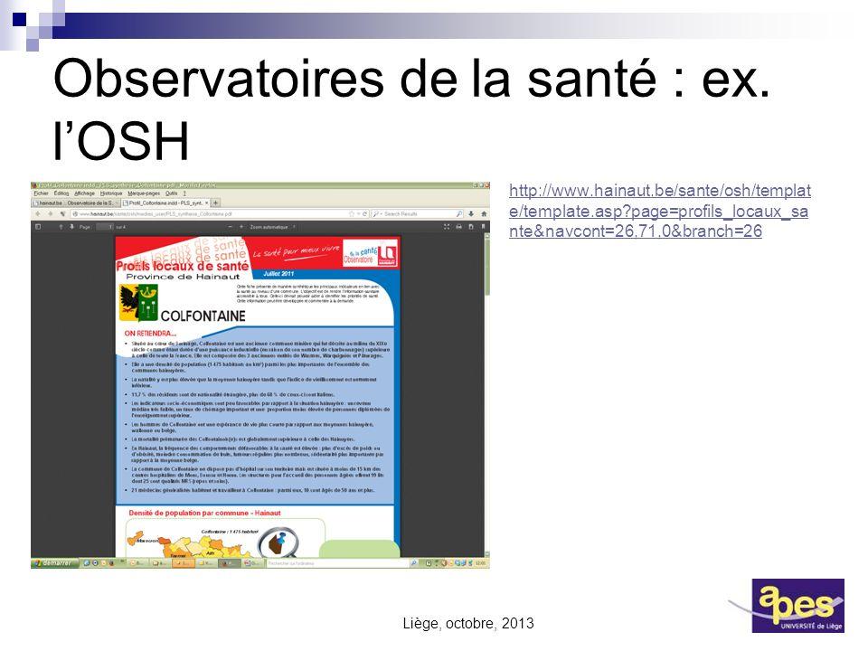 Observatoires de la santé : ex. l'OSH