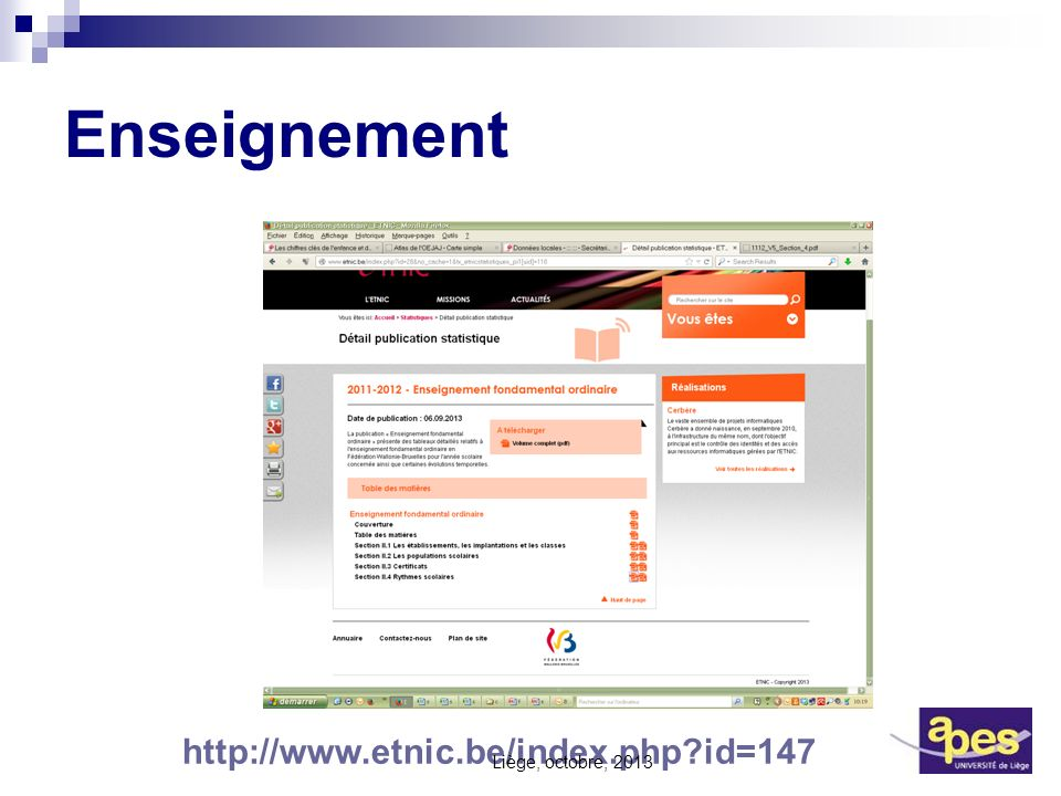 Enseignement http://www.etnic.be/index.php id=147 Liège, octobre, 2013