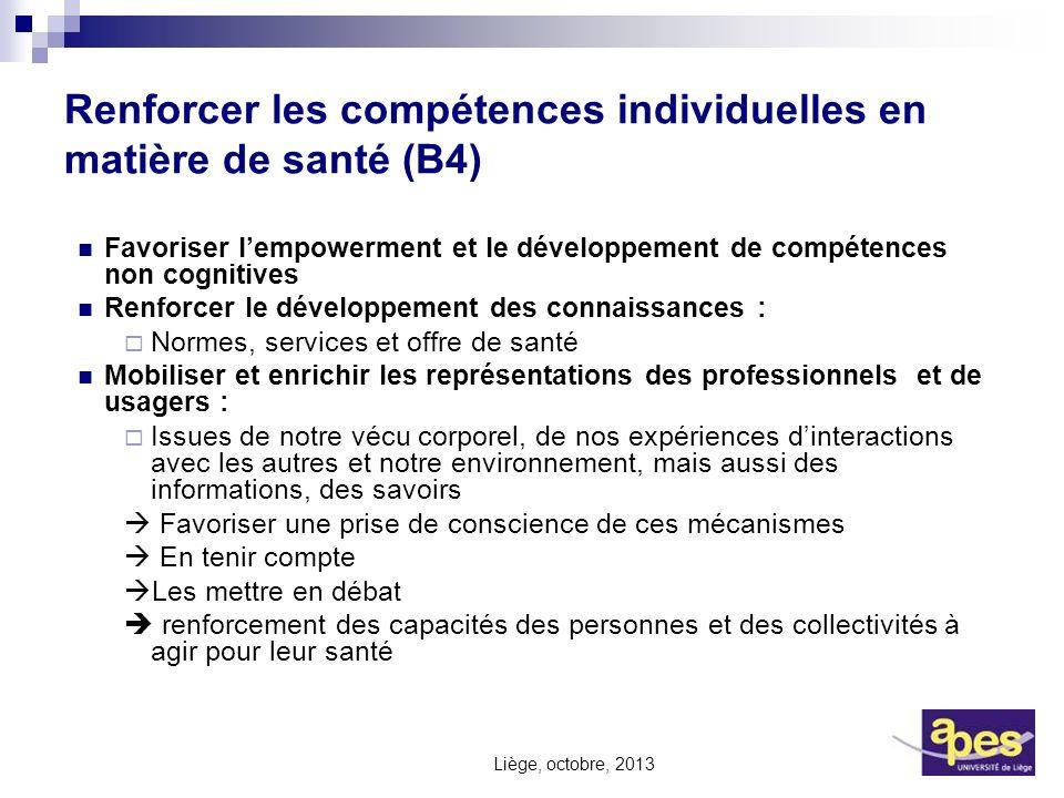 Renforcer les compétences individuelles en matière de santé (B4)