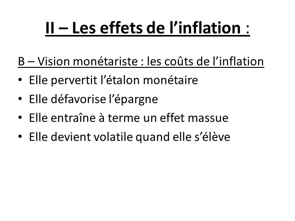II – Les effets de l'inflation :