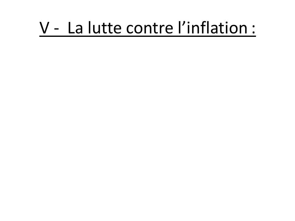 V - La lutte contre l'inflation :