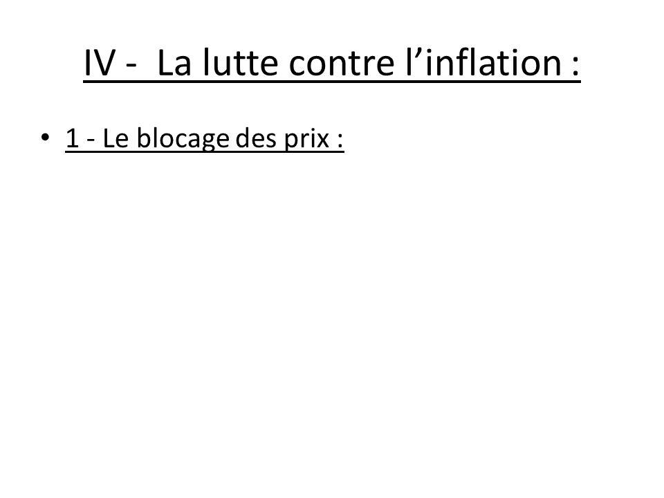 IV - La lutte contre l'inflation :