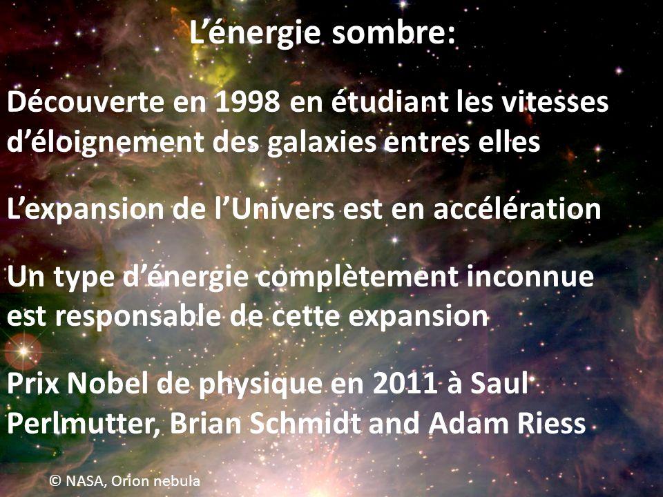 L'énergie sombre: Découverte en 1998 en étudiant les vitesses d'éloignement des galaxies entres elles.