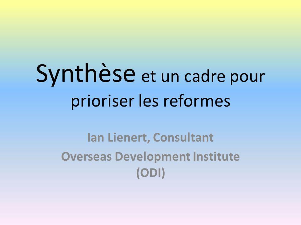 Synthèse et un cadre pour prioriser les reformes