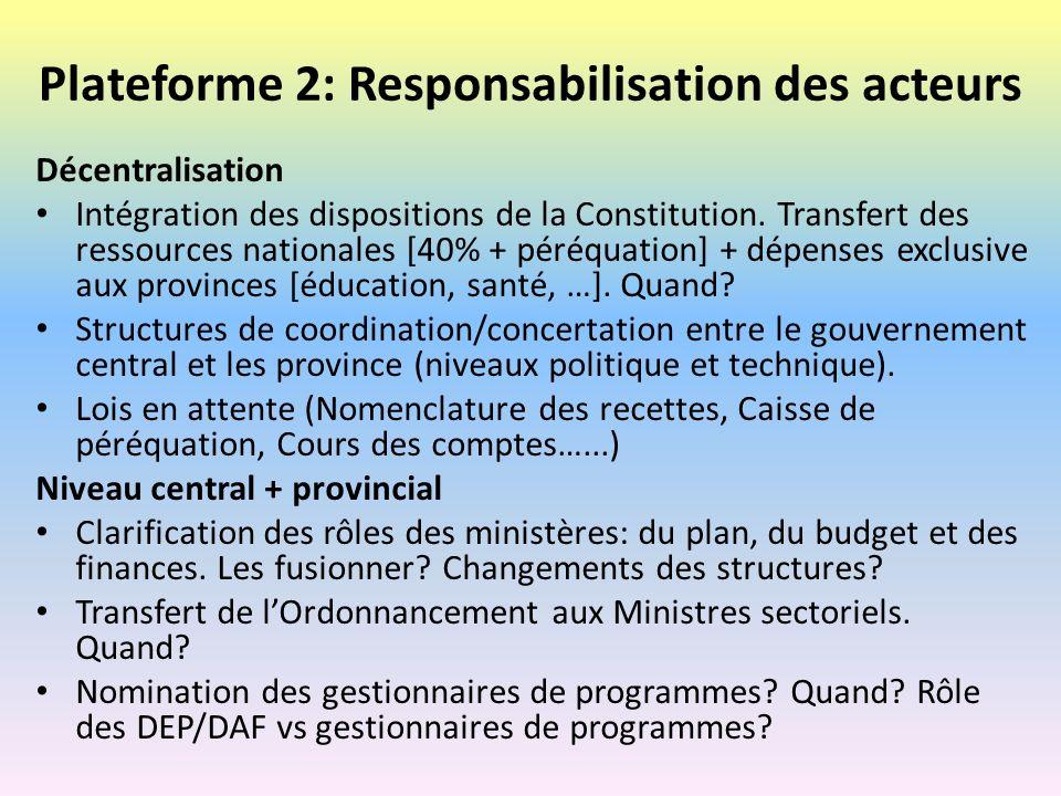 Plateforme 2: Responsabilisation des acteurs