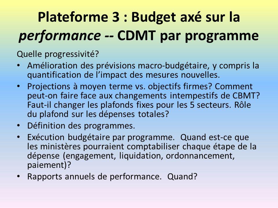 Plateforme 3 : Budget axé sur la performance -- CDMT par programme