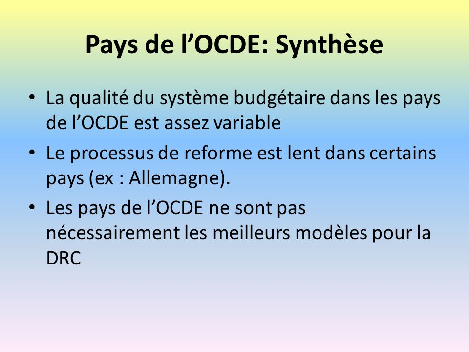 Pays de l'OCDE: Synthèse