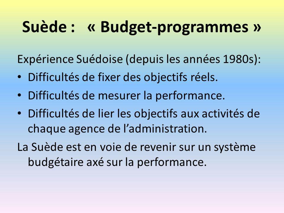 Suède : « Budget-programmes »