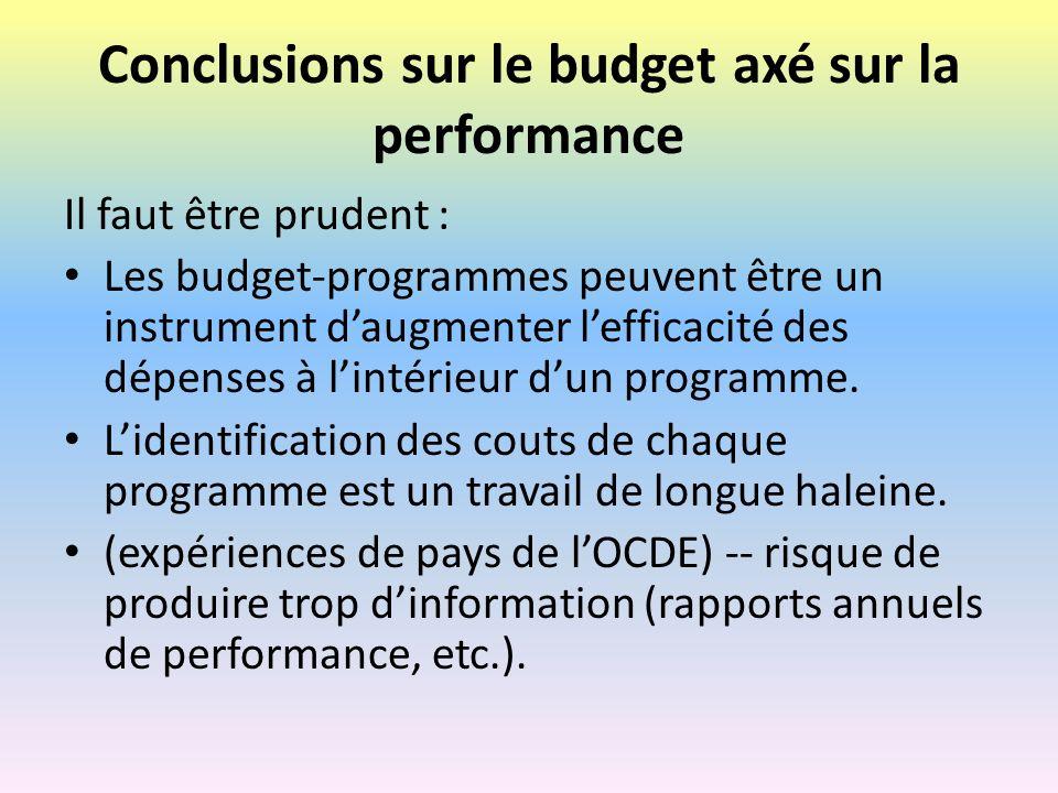 Conclusions sur le budget axé sur la performance
