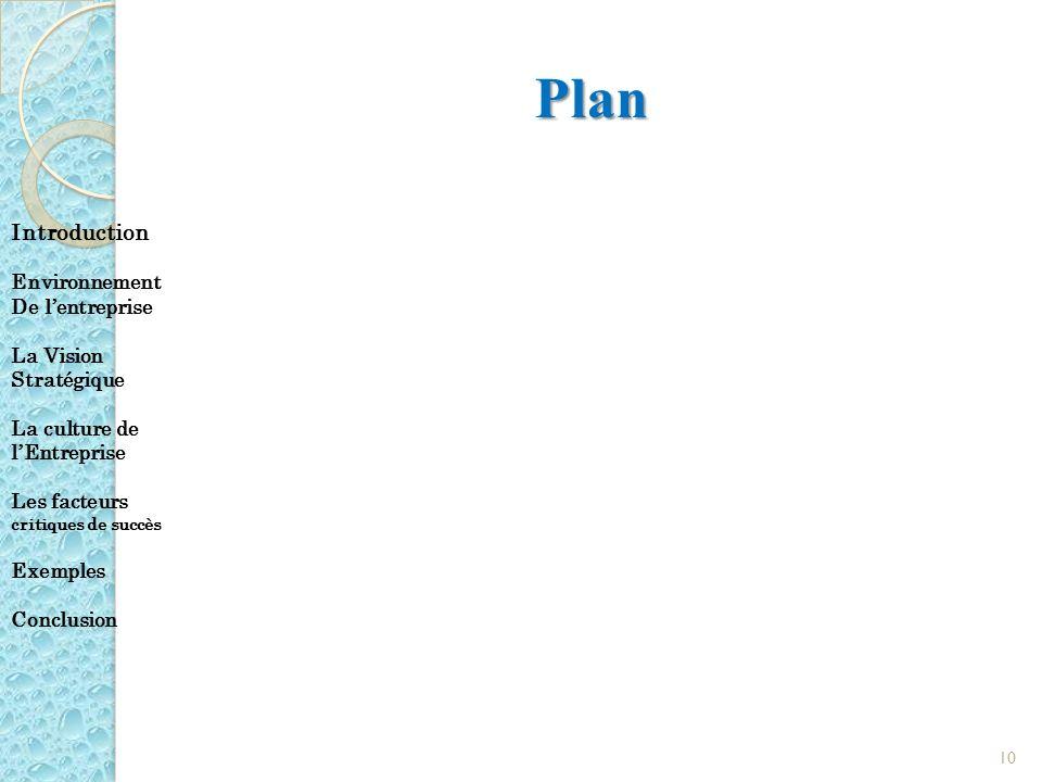 Plan Introduction Environnement De l'entreprise La Vision Stratégique