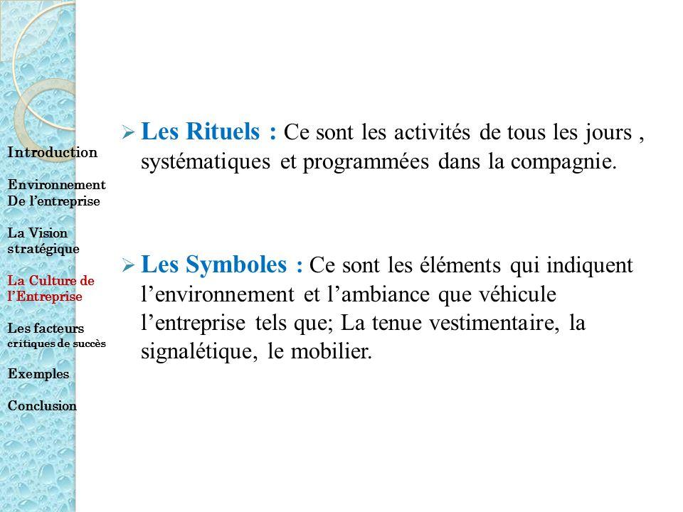 Les Rituels : Ce sont les activités de tous les jours , systématiques et programmées dans la compagnie.