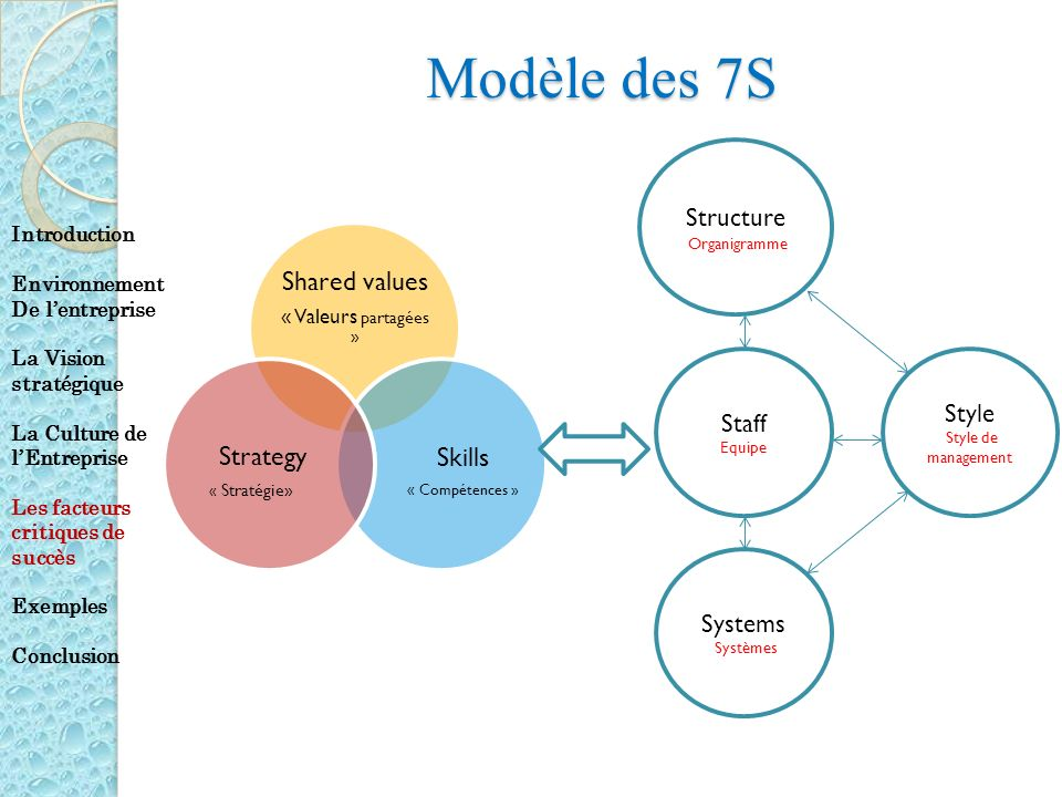 Modèle des 7S Shared values Skills Strategy Structure Style Staff