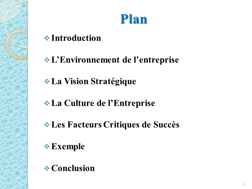 Plan Introduction L'Environnement de l'entreprise