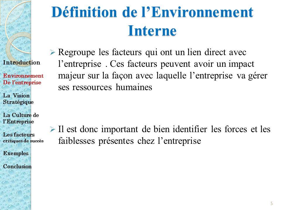 Définition de l'Environnement Interne