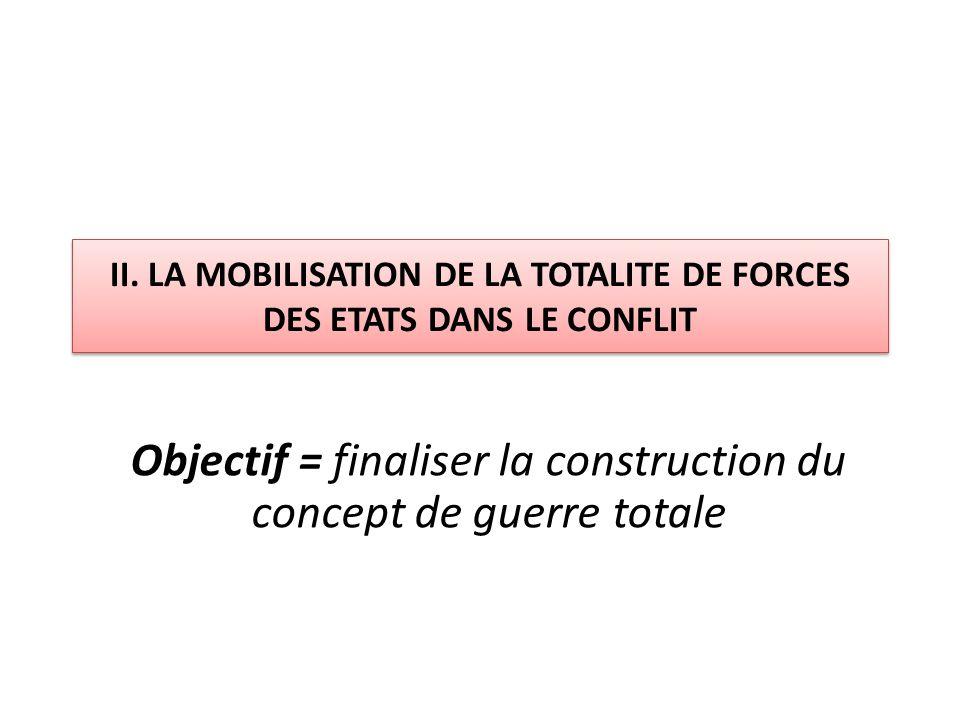 II. LA MOBILISATION DE LA TOTALITE DE FORCES DES ETATS DANS LE CONFLIT