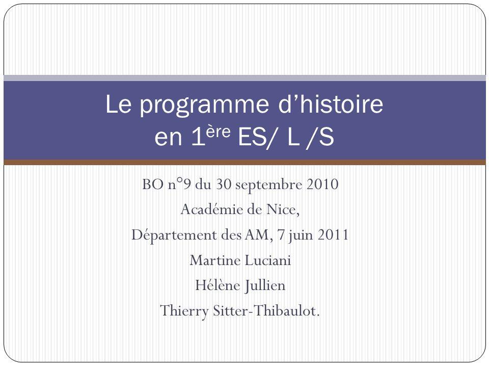 Le programme d'histoire en 1ère ES/ L /S