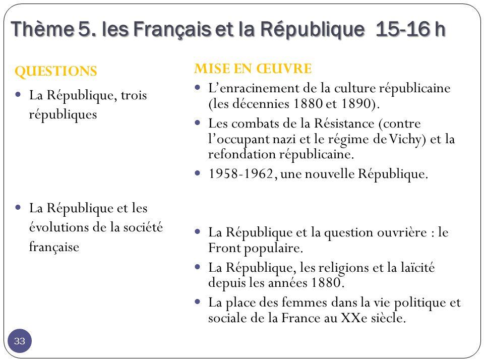 Thème 5. les Français et la République 15-16 h