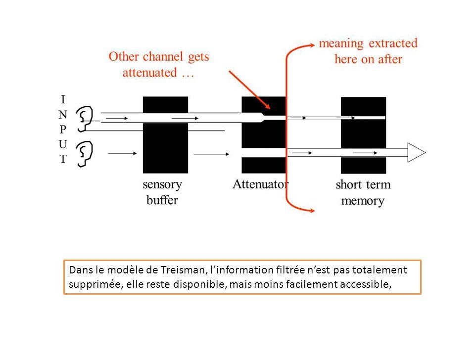 Dans le modèle de Treisman, l'information filtrée n'est pas totalement supprimée, elle reste disponible, mais moins facilement accessible,