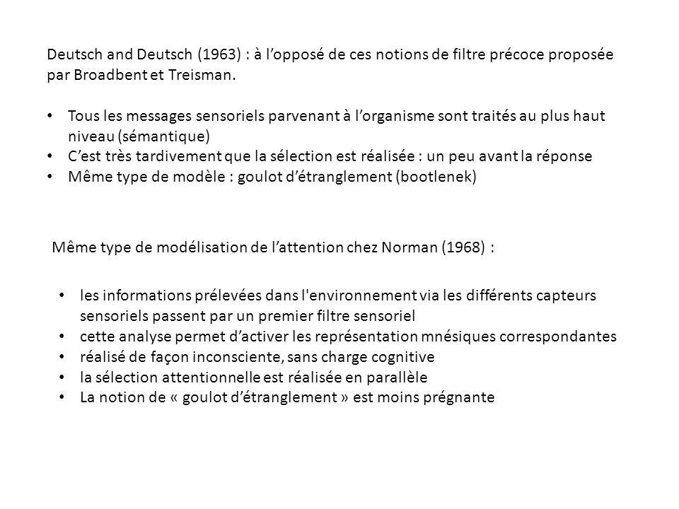 Deutsch and Deutsch (1963) : à l'opposé de ces notions de filtre précoce proposée par Broadbent et Treisman.