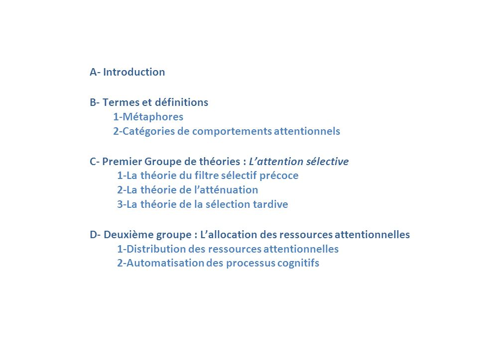 A- Introduction B- Termes et définitions. 1-Métaphores. 2-Catégories de comportements attentionnels.
