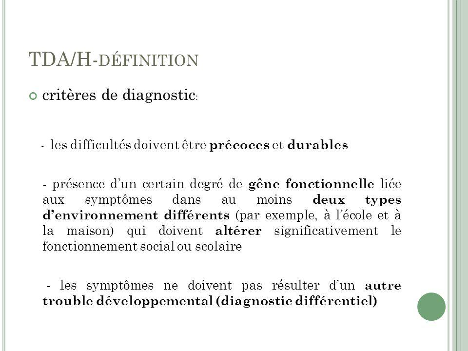 TDA/H-définition critères de diagnostic: