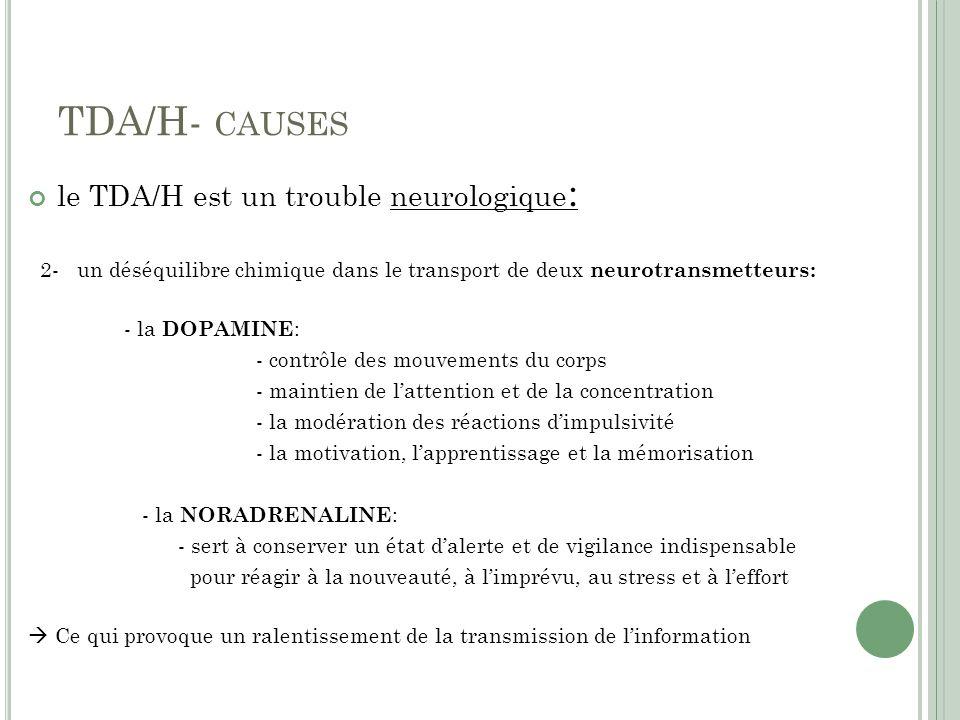 TDA/H- causes le TDA/H est un trouble neurologique: