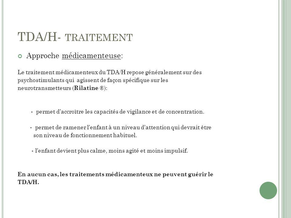 TDA/H- traitement Approche médicamenteuse: