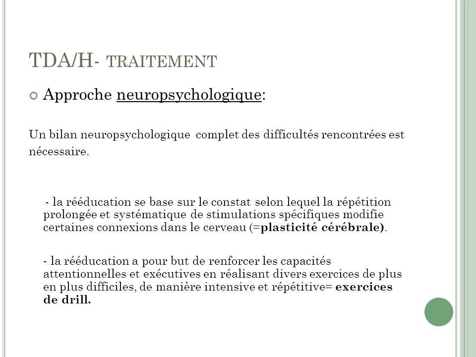 TDA/H- traitement Approche neuropsychologique: