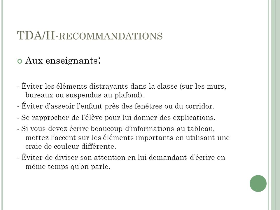 TDA/H-recommandations