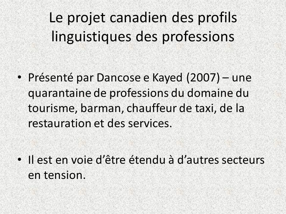 Le projet canadien des profils linguistiques des professions