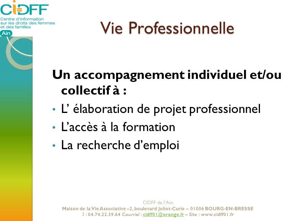 Vie Professionnelle Un accompagnement individuel et/ou collectif à :