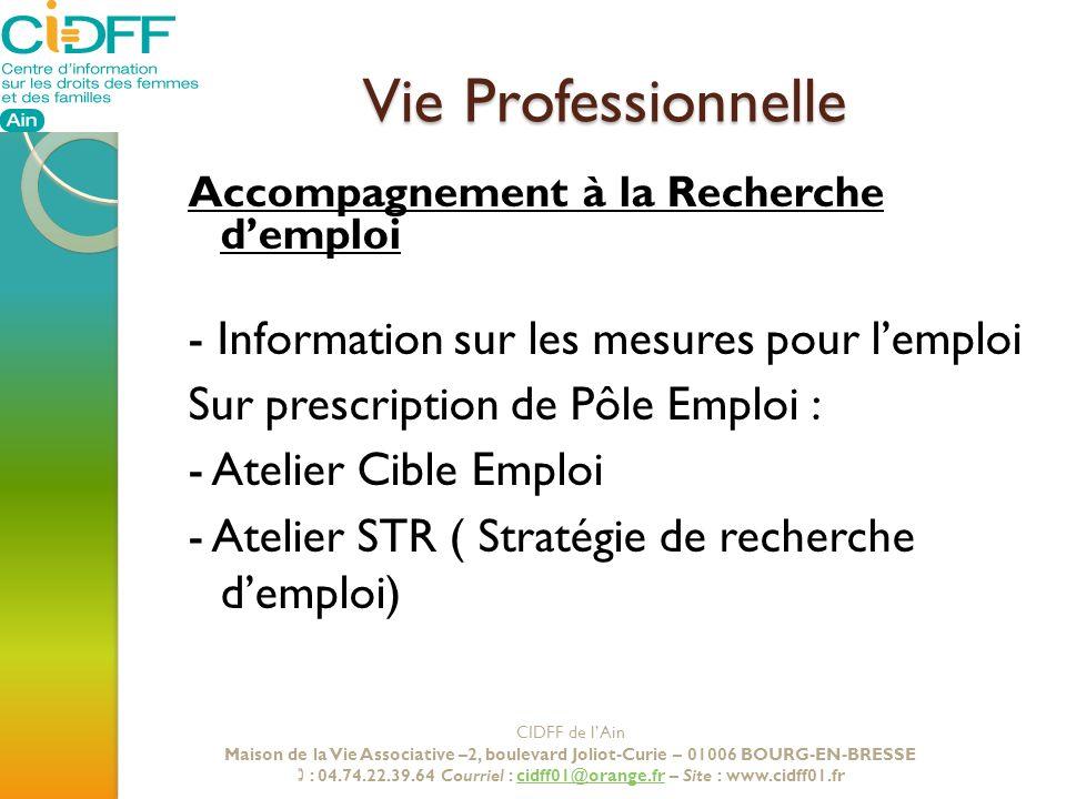 Vie Professionnelle - Information sur les mesures pour l'emploi