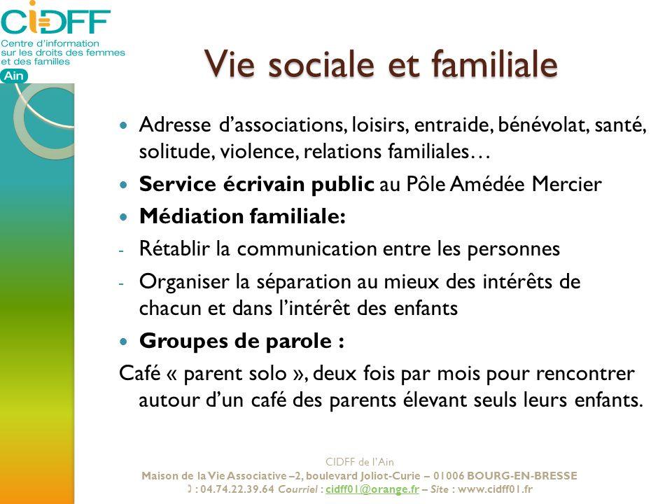 Vie sociale et familiale
