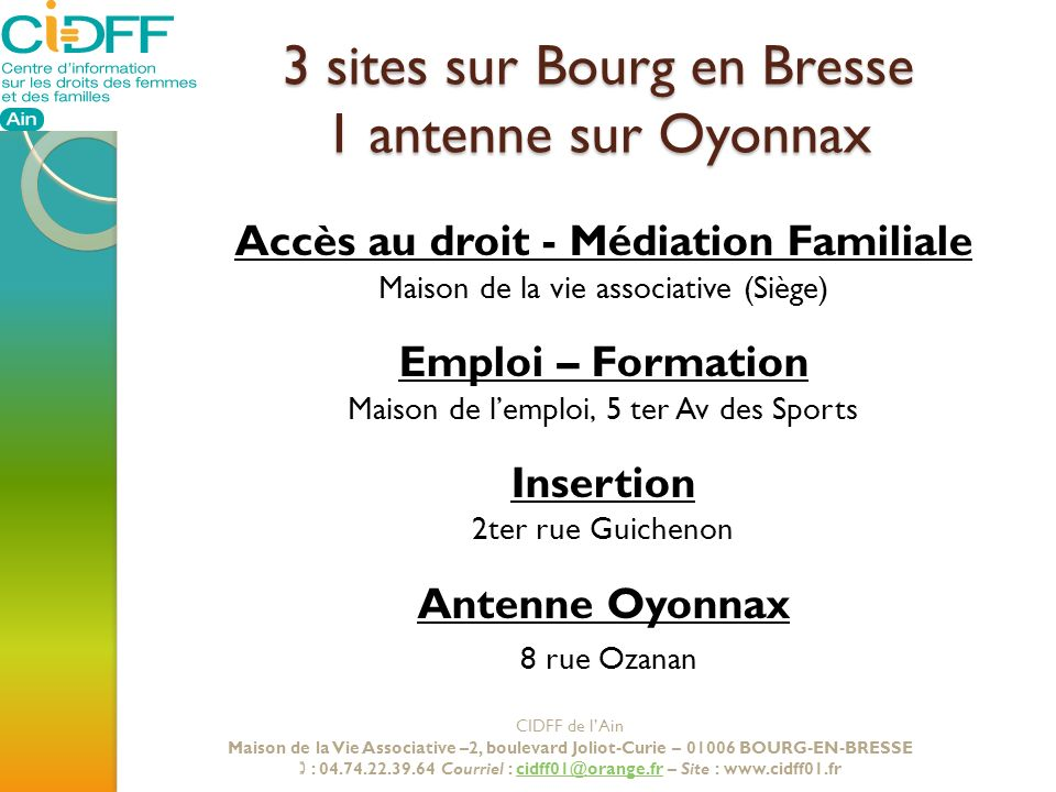 3 sites sur Bourg en Bresse 1 antenne sur Oyonnax