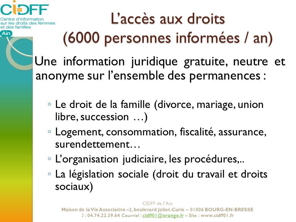 L'accès aux droits (6000 personnes informées / an)