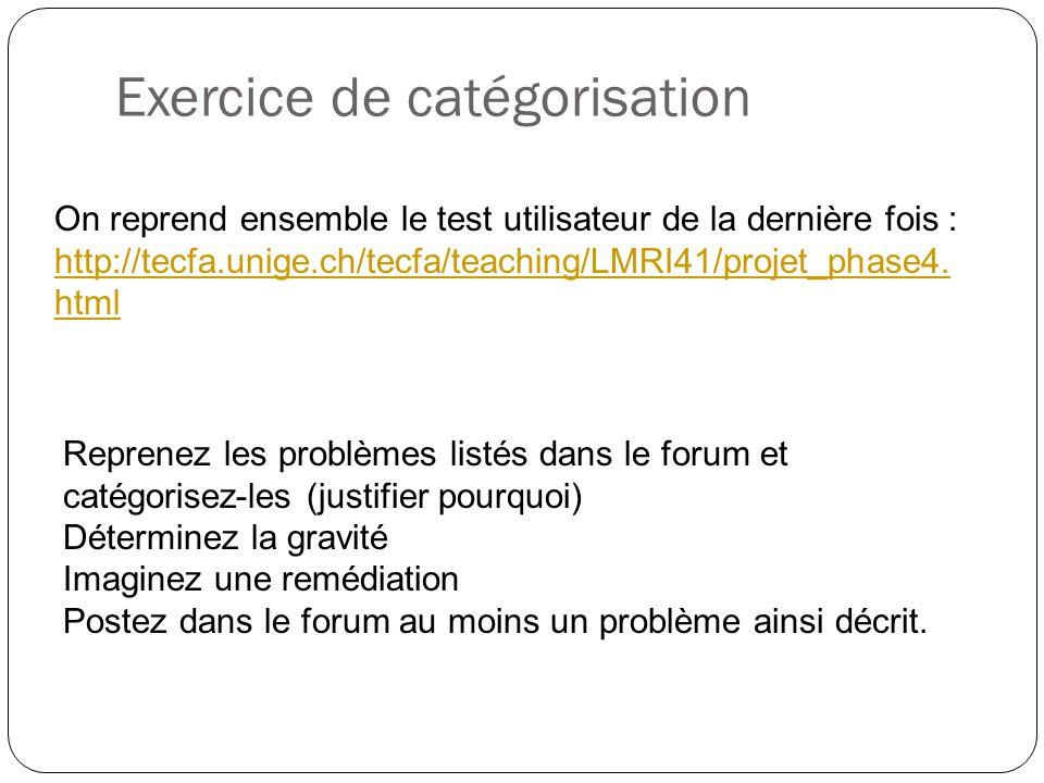 Exercice de catégorisation