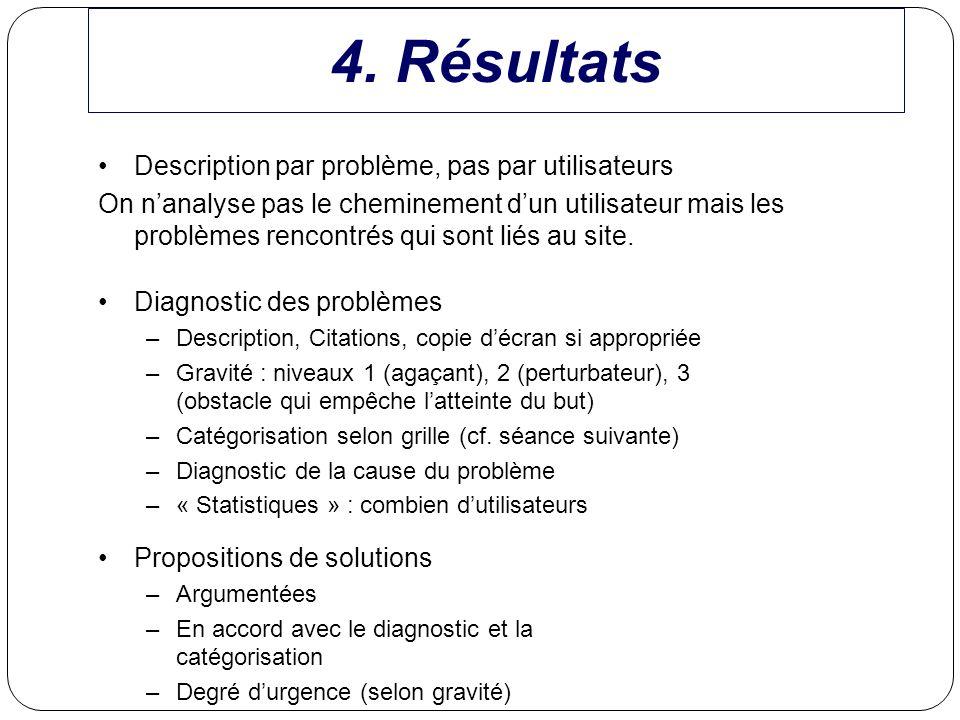 4. Résultats Description par problème, pas par utilisateurs