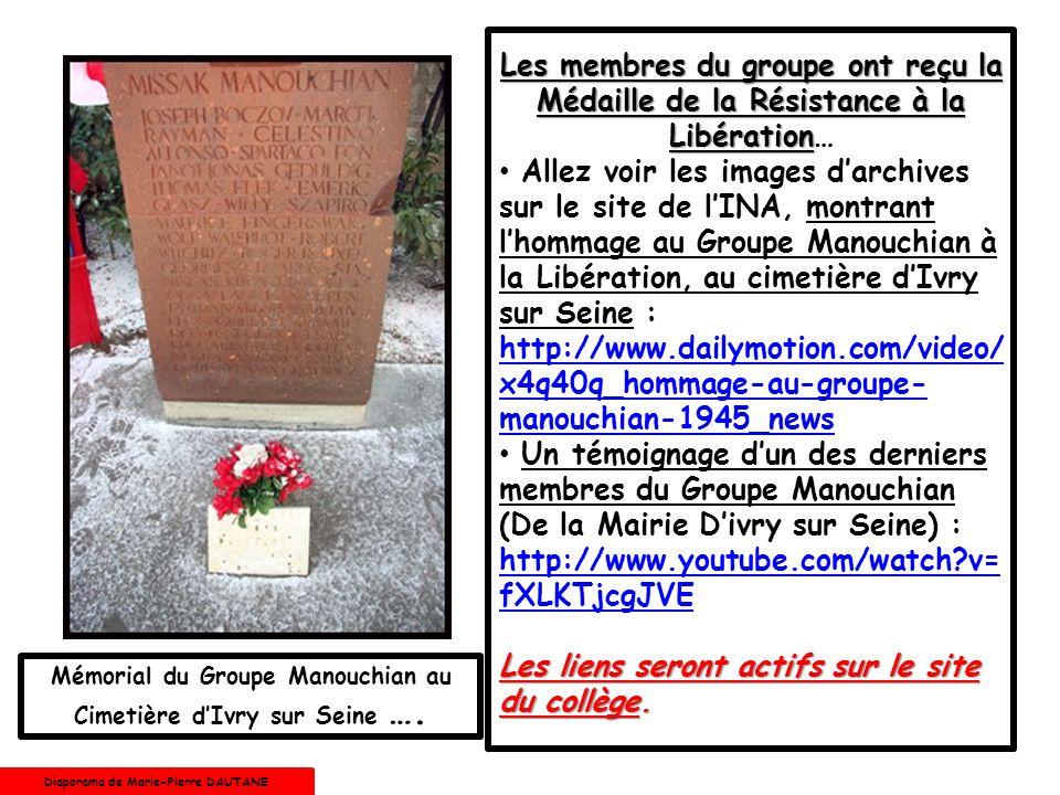 Les membres du groupe ont reçu la Médaille de la Résistance à la Libération…
