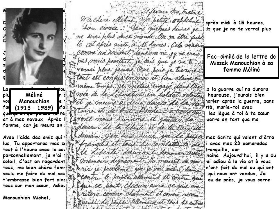 Manouchian a écrit une lettre à sa femme Méliné, avant son exécution