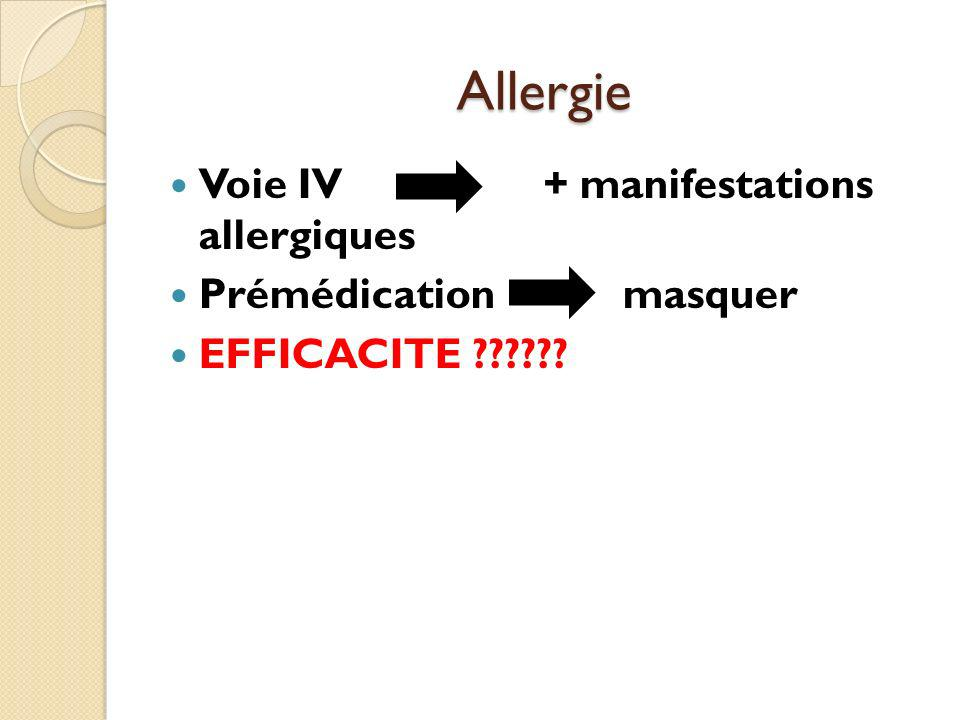 Allergie Voie IV + manifestations allergiques Prémédication masquer
